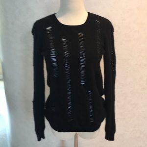 Aqua Cashmere Properly Destroyed Black Sweater  M